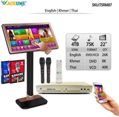 4TB HDD  52K,Khmer/Cambodian,English Songs,Touch Screen Karaoke Player,22