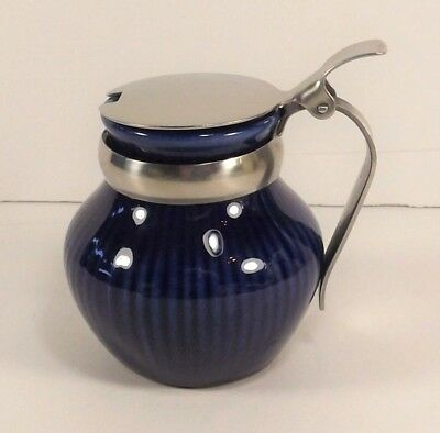 Rorstrand Sweden Syrup Creamer Small Pitcher Metal Lid Striated Design Pottery