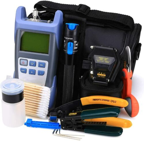 FTTH Fiber Optic Tool Kit 18 in 1 with Fiber Optical Power Meter and 10mw VFL