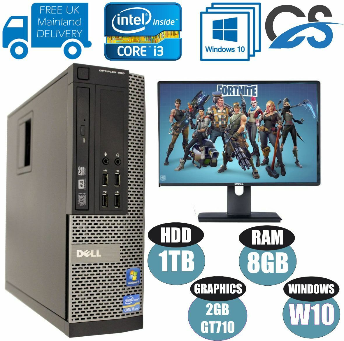 Computer Games - ULTRA FAST GAMING DELL OPTIPLEX BUNDLE TOWER PC COMPUTER INTEL i3 8GB 1TB GT710