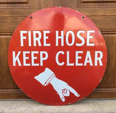 """RARE! 1930s FIRE HOSE KEEP CLEAR 24"""" Double Sided Porcelain Advertising Sign"""