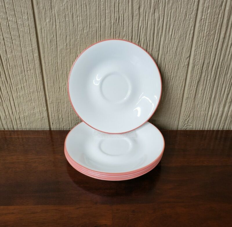 5 - Corelle by Corning Sand Art coral trim saucers