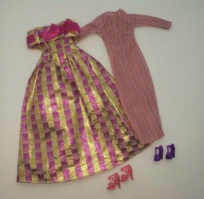 Vintage Barbie 80s 90s Fashion Avenue Pink Gold Metallic Ballgown Dresses Lot