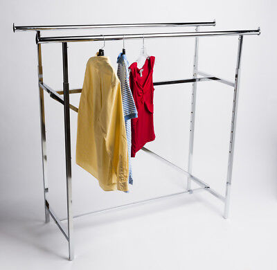 48-83 Extra Tall Double Bar Commercial Grade H Rack Clothing Garment Clothes
