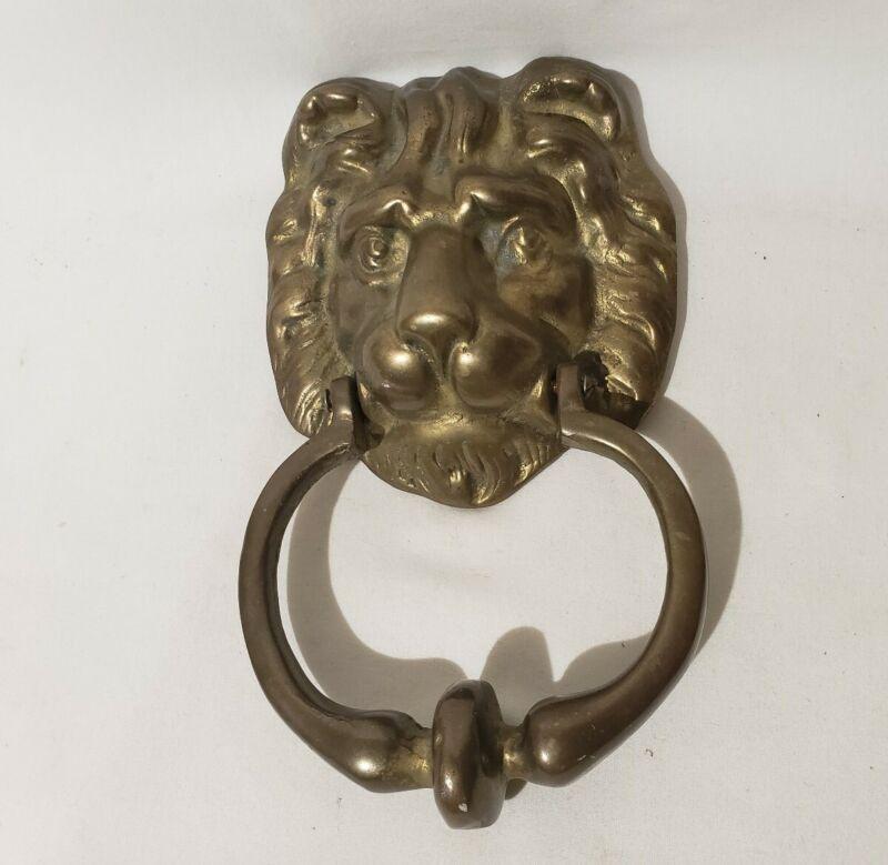 Vintage Heavy Cast Brass LION HEAD Door Knocker