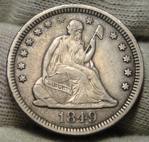 1849 Seated Liberty Quarter 25 Cents - Rare Key Date only 340,000 minted. (8130)