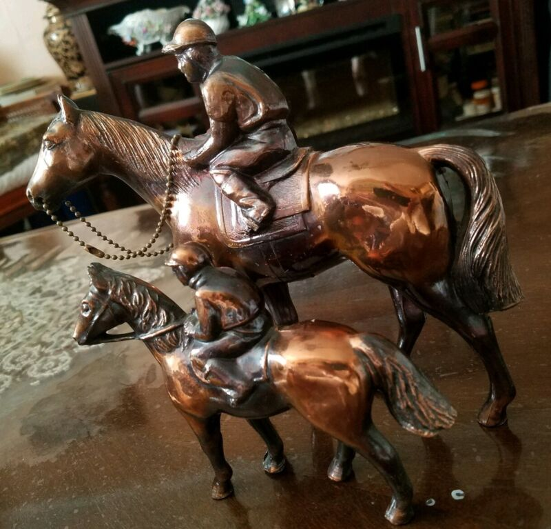 Two Bronze Horses With Riders Statues