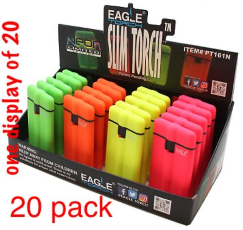 Eagle  Flame Slim Torch Lighters 20 Bulk Pack Windproof w/Money Clip