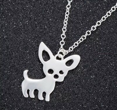 Stylized Chihuahua Dog Silver Plated Chain Necklace Gift Rescue Puppy