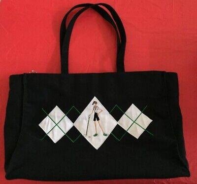 Lady Bag Charme (Lady Golfer Monogram Large Lined Bag Zip Tote Golf Ball Tee Charm Woman Putt Mom)