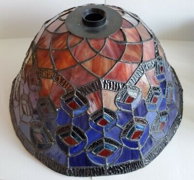 """DALE TIFFANY Stained Glass Lamp Shade Peacock Blue Red 15.5"""" Dia"""