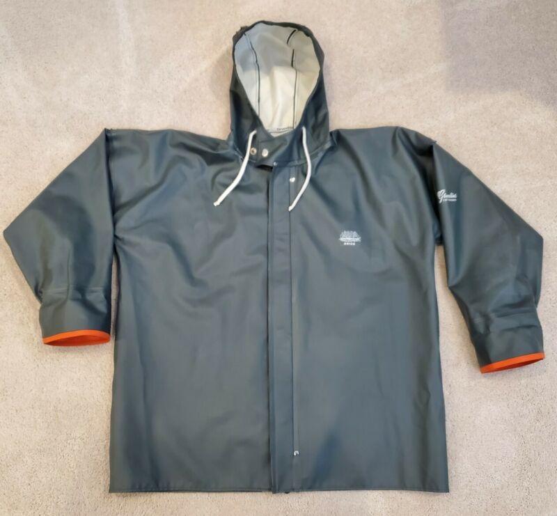 Green Grundens Brigg Hooded Commercial Fishing Rain Jacket Coat Parka Cuffs