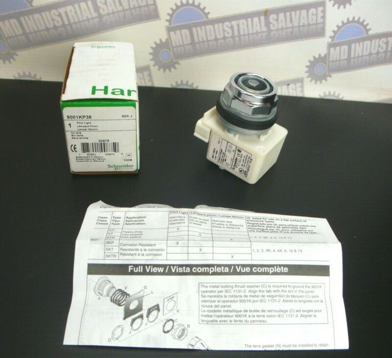 Schneider 9001-KP-38 STANDARD PILOT LIGHT WO/LENS 120VAC/DC (NEW in BOX)