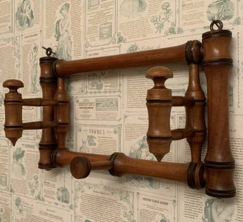 Rare Antique Vintage French Wood Wall Hat/Coat Rack, 1930s Faux Bamboo Design