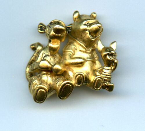 Disney Store Gold tone Winnie the Pooh Tigger & Piglet Jewelry Brooch Pin