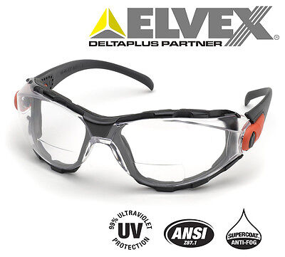 Elvex RX Go Specs Bifocal Safety/Reading Glasses/Goggles Clear A/F 1.5 Magnifier