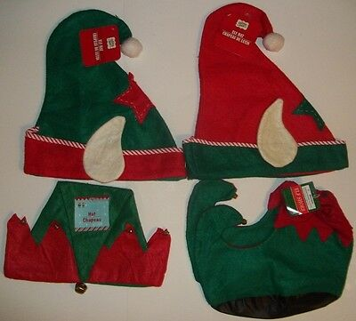 Christmas Elf Hat with Ears or Shoes with Bells for Costume Red Green Choice