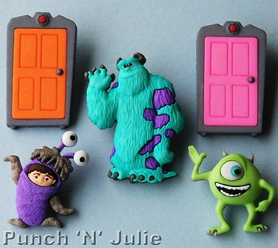 MONSTERS INC - Halloween Children Doors Alien Disney Dress It Up Craft Buttons