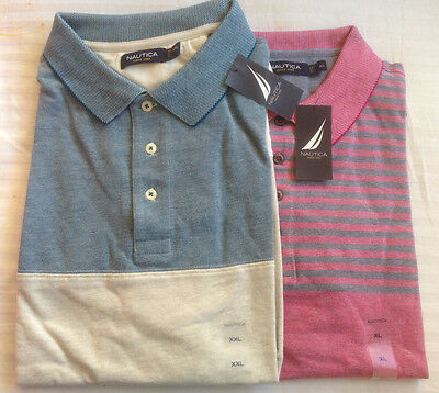 NWT Nautica Slim-Fit Short Sleeve Engineered Striped Polo Shirt Size L, XL, 2XL