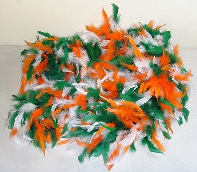 Full 6 Foot Green White & Orange FEATHER BOA DRESS-UP Theater Dance - Halloween Irish Dance Costume