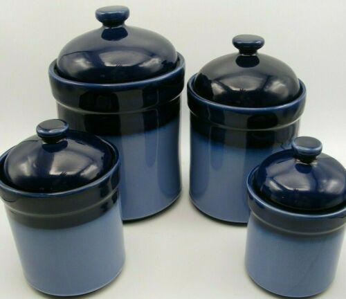 Sango Nova Blue Stoneware Canister Jar Set w Lids XL/L/M/S-Cobalt Navy- 4 Pc