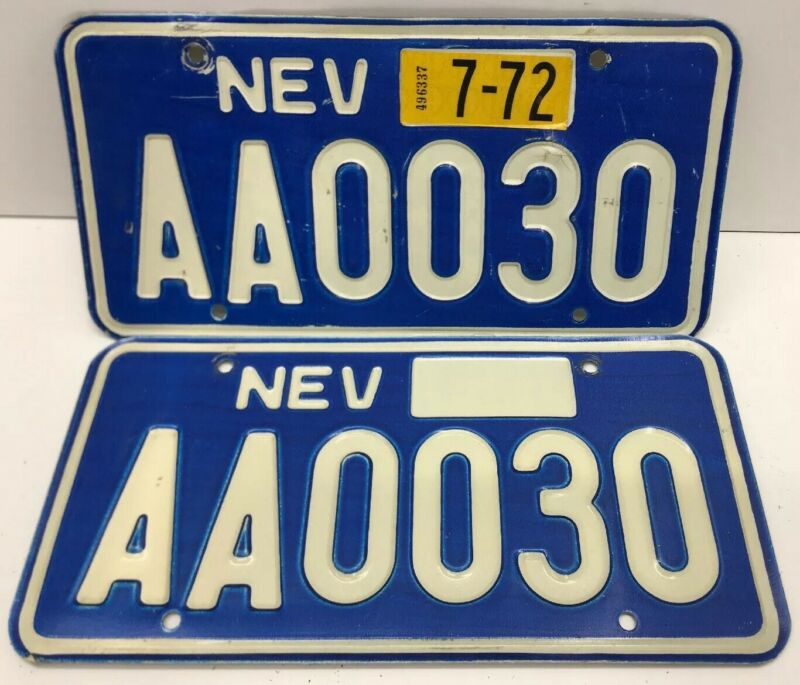 RARE  PAIR   NEVADA  AA 0030 LICENSE PLATE -VINTAGE-