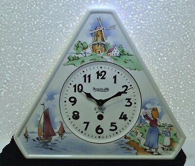 VINTAGE FORESTVILLE CERAMIC 8 DAY WALL CLOCK