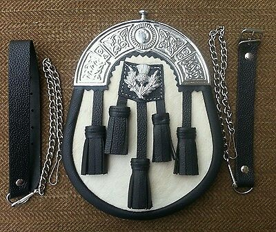 5 Black Tassels, White Furr, Cowhide Leather Scottish  Kilt Sporran + Free Belt