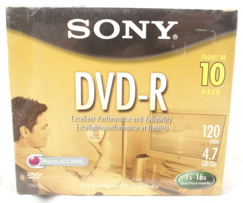 Sony DVD-R 10 Pack 120 Min 4.7 GB 1-16x Recordable Media Blank Disks  NEW Sealed