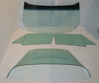 1964-1967 CORVETTE COUPE 6 PC COMPLETE GLASS SET GREEN DATED TO MATCH YOUR CAR