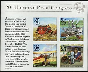 1989 25c Traditional Mail Delivery, Souvenir Sheet of 4 Scott 2438 Mint F/VF NH