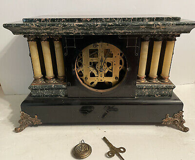Antique Seth Thomas Adamantine Faux Green Marble Mantle Clock Project 89AD 296C