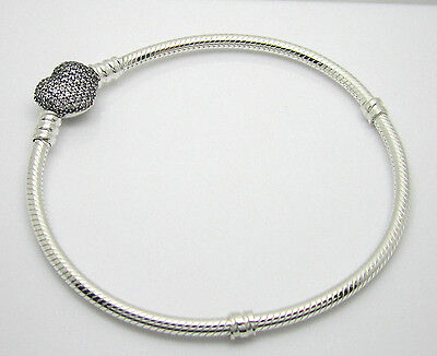 Authentic Pandora #590727CZ-20cm Pave Heart Clasp Sterling Silver Bracelet