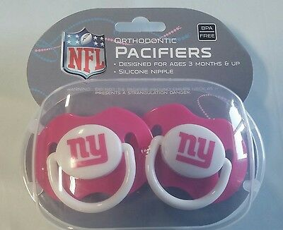 Pink Ny Giants (New York Giants PINK Baby Infant Pacifiers NEW - 2 Pack SHOWER GIFT!)