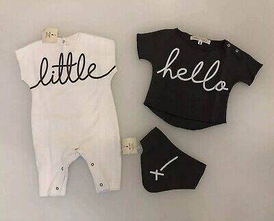MESSAGE IN THE BOTTLE Grey/White Cotton Newborn Baby Outfit Set | Size 1m