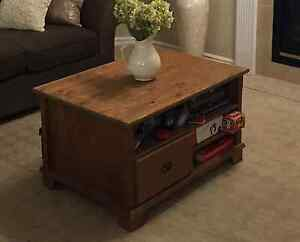 Coffee table, wood, drawers and shelves on both sides