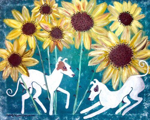 ITALIAN GREYHOUND with Sunflowers Dog Pop Folk Vintage Art 8 x 10 Signed Print