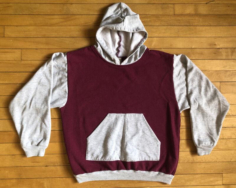 Vintage 70s 80s Two Tone Hooded Sweatshirt Medium Hoodie Jogger Pullover