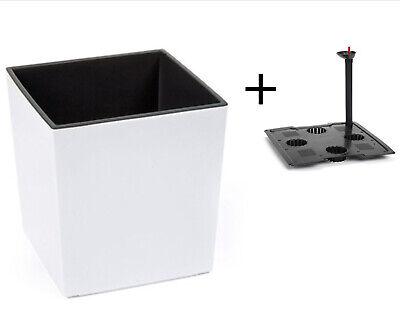 Blumenkübel  XXL mit Bewässerungssystem Hochglanz Einsatz Weiß 40x40x41 cm ()
