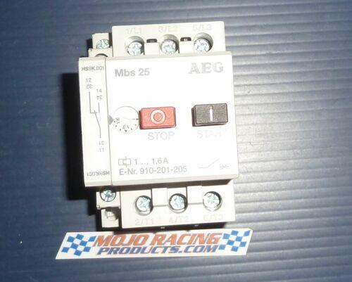 AEG MBS25 Manual Motor Starter 1.6A  E-Nr:910-205-24 Good Used $60ea