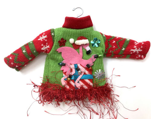 Ugly Sweater Christmas Flamingo Wreath Ornament Miniature Doll Knit Top Hanger R