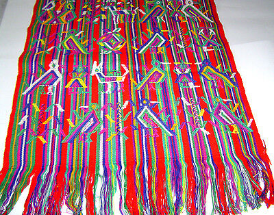 Table Cover/Wall Hanging Many Symbols Handwoven Cotton  Fair Trade Guatemala