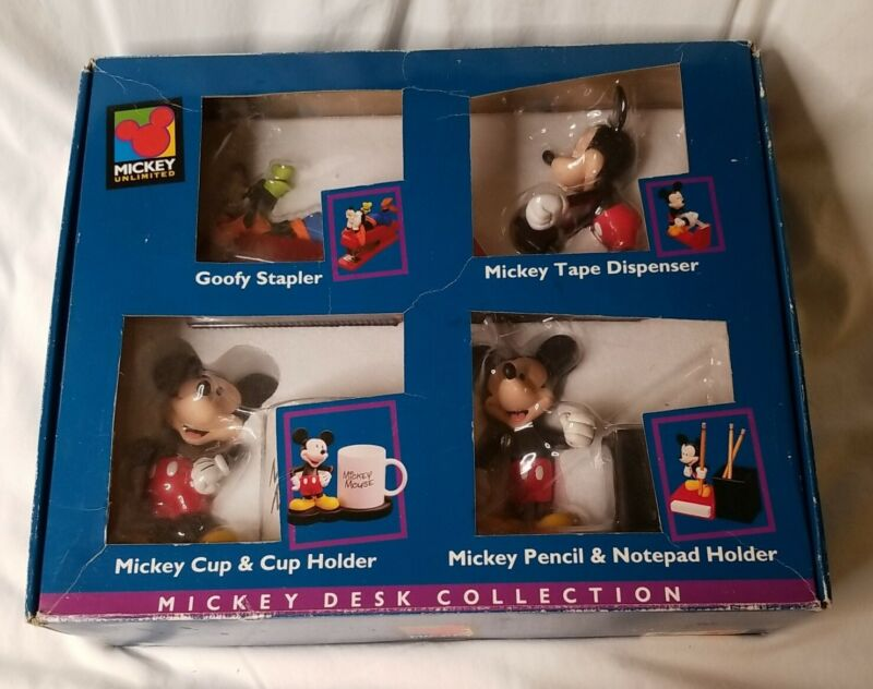 Mickey Unlimited Mickey Desk Collection 4 Piece Set In Orginal Box PLEASE READ