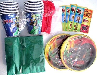 THE LEGEND OF ZELDA Birthday Party Supply Kit w/ Plates,Napkins,Cups & STICKERS!