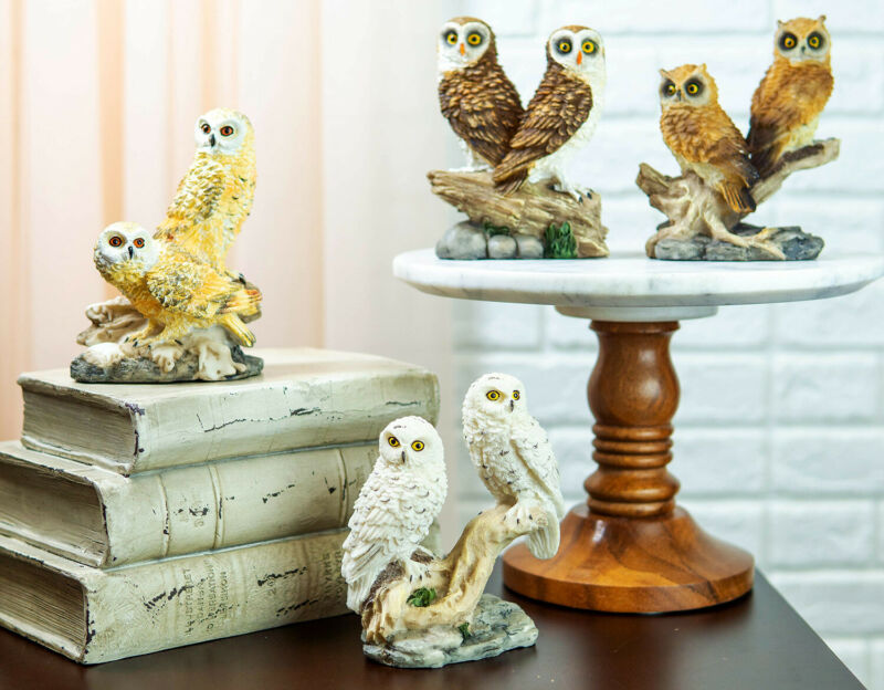 Barn Great Horned Snowy & Screech Owls Perching On Branch Figurine Set of Four