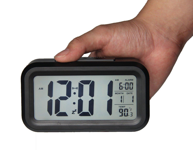 Large Display LCD Digital Alarm Clock w/ Automatic Light Sensor Low Vision, Desk