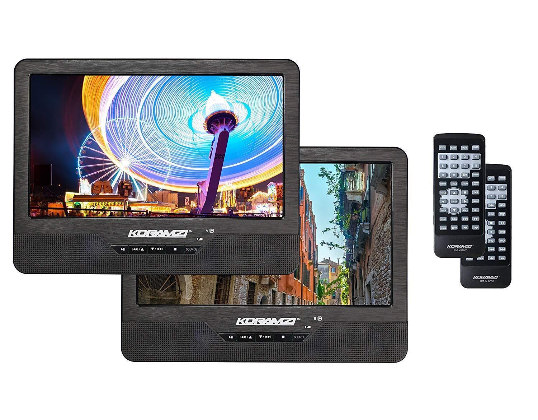 "Koramzi Portable 9"" Dual Screen Dual DVD Player W Rechargeab"