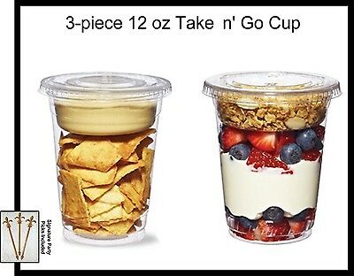 25-pack Take N Go Cup Plastic 12 Oz Parfait Snack Cup Winsert And Flat Lid