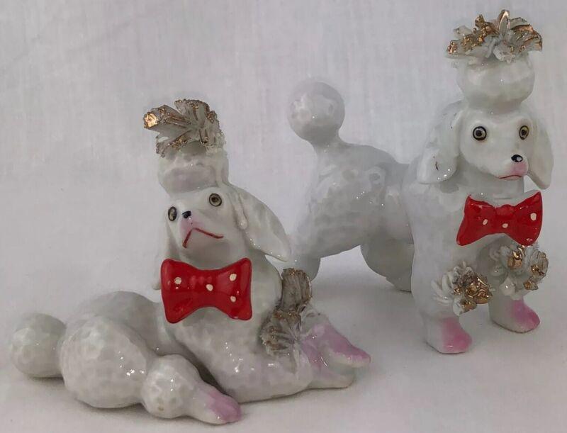 Vintage Poodle Figurines Set of 2 Spaghetti Red White Polka Dot Bow Tie