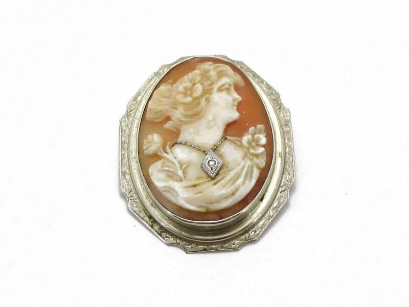 Antique Victorian 14k White Gold Natural Cameo Diamond Pin Brooch 9g i4041